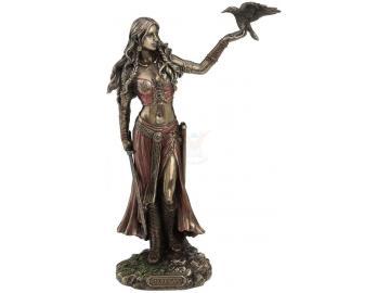 Kriegsgöttin Morrigan mit Krähe Figur aus Polyresin